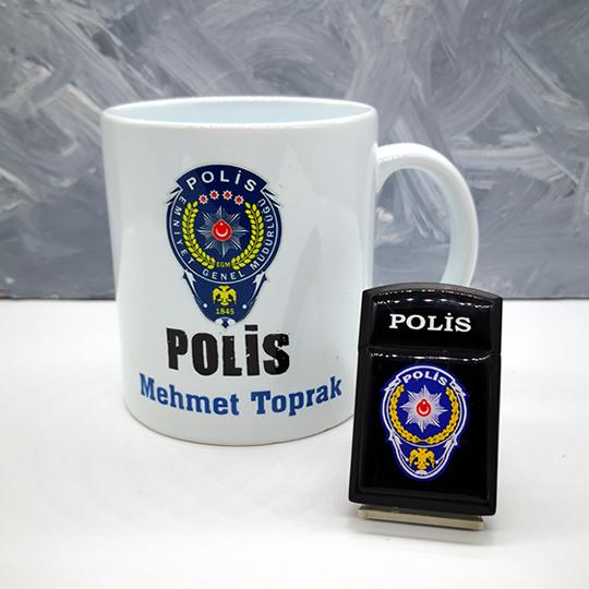 Polis Çakmak Kişiye Özel Kupa Bardak Hediye Seti