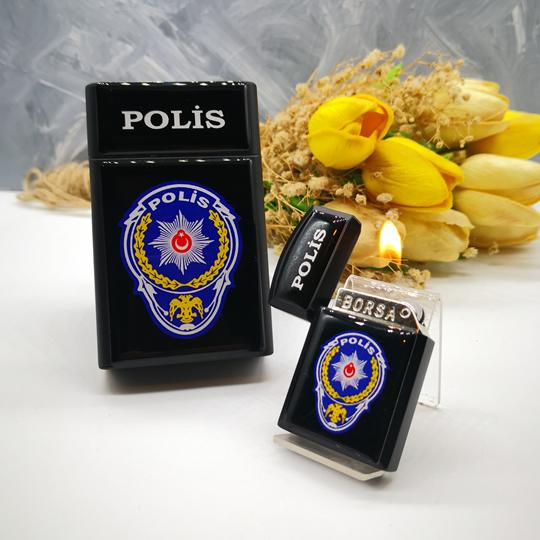 Polise Hediye Polis Logolu Sigara Kutusu, Çakmak